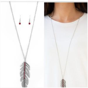 SKY QUEST RED NECKLACE/EARRING SET